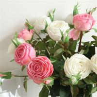zimmerdekoration rosen großhandel-Lange Zweigfeuchtigkeitsspendende Diamant-Rosen-romantische künstliche Hochzeits-dekorative Blumen-perfektes Hauptwohnzimmer-Flur-Dekoration