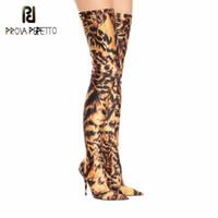 ingrosso leopardo stilettos-Risultato perfetto Leopard Print Calze elastiche stivali alti Donna Sexy Stiletto Punta tacchi alti Scarpe da party Calzini lunghi