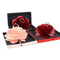 ingrosso bellissimo stand-Beautiful Rose Flower Wedding Anelli di fidanzamento Scatola a sorpresa Decorazione di nozze Contenitore di gioielli Titolare Scatola regalo 4 colori
