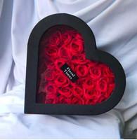 rosas de coração artificial venda por atacado-Presente Falso eterna Rose Red Box Artificial da namorada dom sabão da flor do coração Caixa Dia dos Namorados por Mulheres Decoração do casamento