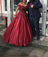Wholesale champagne silk satin dresses resale online - 2020 Elegant Off The Shoulder Ball Gowns Evening Dress Applique Beading Lace Matte Satin Sleeveless Party Prom Gowns Customized
