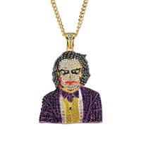 clowns halsketten großhandel-hip hop clown diamanten anhänger halskette für männer frauen 5mm 76 cm edelstahl kubanischen kette legierung strass goldene luxus anhänger schmuck