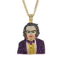 payasos collares al por mayor-Hip hop collar de diamantes colgantes para hombres, mujeres, 5 mm 76 cm Cadena de acero inoxidable de aleación de diamantes de imitación de oro colgantes de lujo de oro joyería