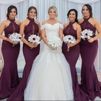 Wholesale champagne halter neck wedding dress resale online - Burgundy CHEAP Mermaid Bridesmaid Dresses Long Length Appliques Halter Neck Lace Wedding Guest Wear Maid Of Honor Gowns Prom Dress BM0982