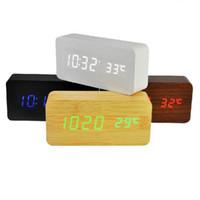 masa saatleri elektronik toptan satış-Yükseltme moda LED Çalar Saat despertador Sıcaklık Sesleri Kontrol LED gece ışıkları ekran elektronik Dijital masa saatleri ST230
