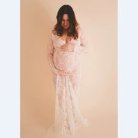 Wholesale maternity clothes lace resale online - 2017 Maternity photography props maxi Pregnancy Clothes Lace Maternity Dress Fancy shooting photo summer pregnant dress S XL SH190917