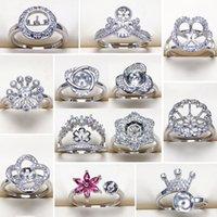 ingrosso moda anelli di moda-Anelli di perle Impostazioni Zircone regolabile Anello in argento S925 Anello per donne Anello di montaggio Vuoto Accessori moda gioielli fai da te Regalo