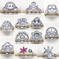 Pearl Rings Settings Zircon Adjustable S925 Silver Ring Ring for Women Mounting Ring Blank DIY Fashion Jewelry Accessories Gift