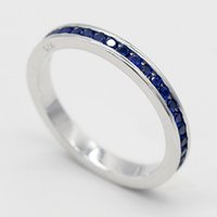 Wholesale simple elegant wedding ring sets resale online - Women Ring Sterling Silver Simple Elegant Circle Pave Setting Blue CZ Finger Ring for Women Wedding Engagement Jewelry