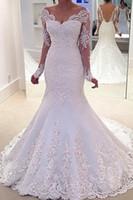 vestido de manga comprida de casamento branco venda por atacado-