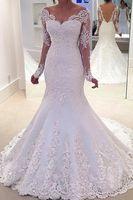 vestido de manga larga blanco de la boda al por mayor-Sirena de manga larga vestido de novia nupcial blanco / marfil con cuello en V vestido de novia de sirena vestido de novia de novia sexy