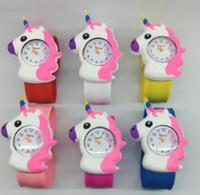ingrosso fumetto di gomma della vigilanza di gomma-Unicorno 3D cartoon orologio unicorno in gomma da polso per bambini Slap Clap Watch Silicone Rubber band carino orologio per regalo
