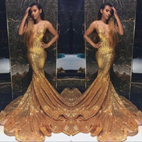 Wholesale mermaid dress stones online - Gold Sparkling Sequins Mermaid Prom Dresses Long Deep V Neck Beaded Stones Backless Sweep Train Party Evening Gowns