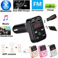 adaptador de auriculares al por mayor-B2 Wireless Bluetooth Multifunción Transmisor FM Adaptador de Cargadores de Coche USB Mini Reproductor de MP3 Kit Kit Titulares Tarjeta TF Manos Libres Auriculares Modulador