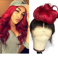 Ombre Color 1B Red 13x6 Lace Front Wigs Human Hair natural Wave Brazilian Remy Glueless Pre Plucked full lace wig with Natural Hairline