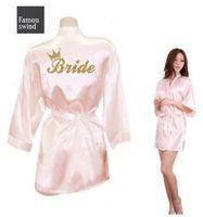 túnicas de seda sintética al por mayor-Envío corona la novia del equipo de oro del brillo de impresión Kimono Robes de imitación de las mujeres de seda de Bachelorette boda Preparewear gratuito