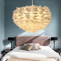 rosa federlampe großhandel-Nordic Design Pendelleuchte Weiße Feder Hängelampe Moderne Esszimmer Küche Loft Decor Home Leuchten 110-240 V