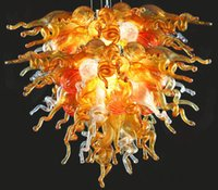 Wholesale amber glass prices for sale - Group buy Cheap Price Amber Chandelier LED Saving Light Source Vintage Victorian Dale Chihuly Style Hand Blown Murano Glass Chain Ceiling