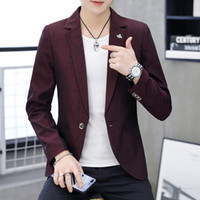 Wholesale burgundy wedding coat for sale - Group buy 2019 Mens Korean Slim Fit Fashion Cotton Blazer Suit Jacket Black Green Burgundy Male Spring Autumn Blazers Mens Coat Wedding