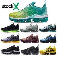 imprimir zapatos corriendo al por mayor-TN Plus geométrica activa Fucsia Negro Hombres Mujeres de los zapatos corrientes de cuadrícula Imprimir ser verdad abejorro juego real entrenadores deportivos zapatillas de deporte 36-45
