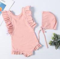 Wholesale siamese swimwear online - Children swimsuits new girls falbala fly sleeve siamese swimming kids backless ruffle sap beach swimwear pink blue A01576