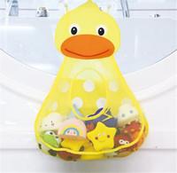 ванны для игрушечных присосок оптовых-Новые Домашнее хозяйство Маленькая утка Маленькая лягушка Форма хранения сумка Baby Shower Ванна Сетка для хранения игрушек с сильными присосками Чистая сумка Организатор