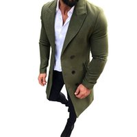 плюс длинные траншеи оптовых-Mens Trench Coat 2018 New Fashion Designer Men Long Coat Autumn Winter Double-breasted Windproof Slim Trench Men Plus Size