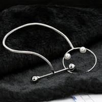 korean bilezik incisi toptan satış-Bilezik Bilezik Güzel Kore Moda Takı El Yapımı Geometrik Tasarım Sense Simüle Inci Gümüş Infinity Charm Bilezikler