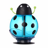 işık böcekleri toptan satış-USB Taşınabilir Ultrasonik Beetle Nemlendirici Hava Temizleme Nebulizatör DC 5 V ABS Şişe Lamba LED Homenight ışık Ofis Araba Nemlendirici iyi qualiy