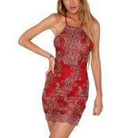 askılı elbisesi toptan satış-Kadın Yaz Plaj Elbise Sundress Zarif Çapraz Geri Nakış Çiçek Dantel Asılı Boyun Hollow Seksi Mini Elbise Vestido Playa
