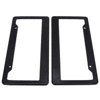 2xUniversal Auto Car Carbon Fiber License Plate Frame Tag Cover Black Adjustable