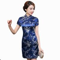 vintage cheongsam çince elbisesi toptan satış-Lacivert Geleneksel Çin Elbise kadın Saten Qipao Yaz Seksi Bağbozumu Cheongsam Çiçek Boyut S M L XL XXL 3XL WC100 Y19012102