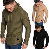camisolas dos hoodies da cor venda por atacado-Marca Mens Fashion Hoodies Men cor sólida com capuz de Slim camisola Mens Hoodie Hip Hop Hoodies Sportswear Treino Plus Size M-3XL