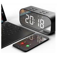 bateria para caixa de alto-falante venda por atacado-Bluetooth 5.0 Speaker Portátil Sem Fio Bluetooth Espelho Caixa de Som de Música Oradores 2000mAh Grande Bateria com Despertador LED Espelho