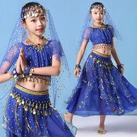 e1b9db11b Children Belly Dancing Costume Kids Indian Dance Dress 8pcs Set Bollywood Dance  Costumes For Baby Girls Performance Dancing Sets