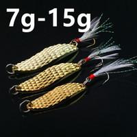 Wholesale leech lures resale online - 10pcs g cm Gold Leech Spoons Fishing Hooks Fishhooks Hook Metal Baits Lures d