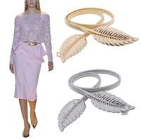 moda eski gümüş yaprak toptan satış-Kadınlar Metal Vintage Kemer Yaprak Moda Şık Metal Altın / Gümüş Yapraklar Tasarım Zincir Kemer kadın Bel Esnekliği Bel Kemeri