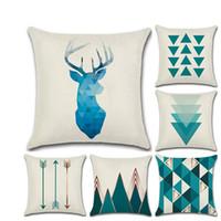 árvore de natal decoração azul venda por atacado-New Blue Nordic Geométrica Regras de Aniversário Abraço Fronha Almofada Set Linen Elk Simples Decorações Da Árvore de Natal