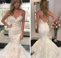 Wholesale sexy wedding dress patterns resale online - 2019 Sexy Lace Pattern Mermaid Wedding Dresses Lace Appliques Backless Plus Size Long Bridal Gowns Custom Made