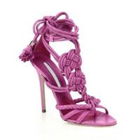 ingrosso le ragazze merlettano sandali-Hot Sale-Young Girls elegante corda nodo sandali Viola Lace-up della caviglia della frangia gladiatore sandali con il cinturino Dress pompe nappa scarpe tacco alto
