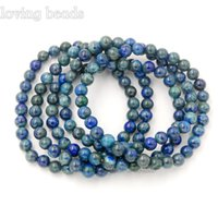 Wholesale lapis charm beads for sale - Group buy 10pcs mm Lapis Chrysocolla Gem Stones Nature Round Beads Stretchy Bracelet quot Connector Charm Healing Jewelry Making