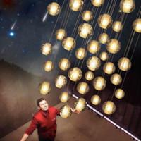 meteor duş ledli toptan satış-LED Kristal Cam Top Kolye Meteor Yağmur Tavan Işık Meteorik Duş Merdiven Çubuğu Droplight Avize Aydınlatma AC110-240V