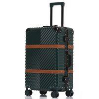 алюминиевый чемодан для багажа оптовых-USB Vintage Leather Travel Trolley Luggage Suitcase PC  With TSA Lock Hardside Rolling Luggage With Wheels
