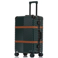 usbrad großhandel-USB Vintage Leder Reise Trolley Gepäck Koffer PC Aluminiumrahmen mit TSA Sperre Hardside Rollgepäck mit Rädern