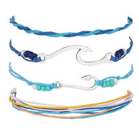 Wholesale fish hook clasps for sale - Group buy 4 P Set Fashion Bohemian Handmade Metal Fish Hook Wave Charm Bracelet Set For Women Vintage Bracelet Party Jewelry BB54