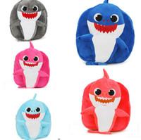 ingrosso borsa blu scuola dei ragazzi-New Baby cartoon shark school bag per bambini Bambini zaino peluche Girl Boy school bags blu Mini zaino rosa Baby Infantil Snack Bags