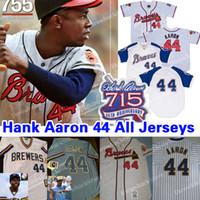 parches para jerseys al por mayor-Atlanta Hank Aaron Braves Jersey 715 Home Run 25th Patch 1963 cremallera Jerseys Jersey Beige Gris Envío gratis