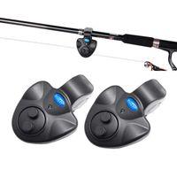 сигнальный фонарь укуса рыбы оптовых-YOLO Electronic Fishing Bait Alarm with Sound LED Lights Indicator Fish Bite Alarms for Fishing Pole Rods Line (Pack of 2)