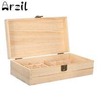 wooden boxes paint venda por atacado-Caixa De Armazenamento De óleos Essenciais De madeira 25 Furos Aromaterapia Natural De Madeira De Pinho Artesanal Sem Tinta