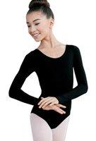 ingrosso leotard nero di lycra-Ragazze manica lunga da ballo Body bambini Body nero Body Lycra Spandex Scoop Neckline Dancewear per lezioni di danza classica